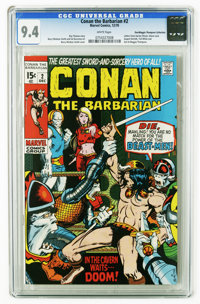 Conan the Barbarian #2 (Marvel, 1970) CGC NM 9.4 White pages. Barry Smith cover and art. Features letters from Harlan El...