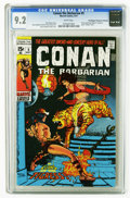 """Bronze Age (1970-1979):Superhero, Conan the Barbarian #5 (Marvel, 1971) CGC NM- 9.2 White pages. Adapted from the poem """"Zukala's Hour"""" by Robert E. Howard. Ba..."""