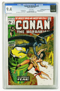 "Bronze Age (1970-1979):Superhero, Conan the Barbarian #9 (Marvel, 1971) CGC NM 9.4 White pages. Based on Robert E. Howard's (non-Conan) story ""Garden of Fear...."