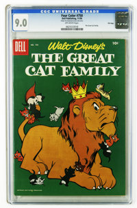Four Color #750 The Great Cat Family File Copy (Dell, 1956) CGC VF/NM 9.0 Off-white pages. Disney movie comic. Pinocchio...