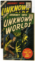 Golden Age (1938-1955):Horror, Journey Into Unknown Worlds #46 and 56 group (Atlas, 1956-57)Condition: VG+. This lot contains two issues of Journey Into...(Total: 2)