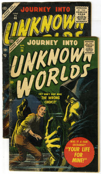 Journey Into Unknown Worlds #46 and 56 group (Atlas, 1956-57) Condition: VG+. This lot contains two issues of Journey In...