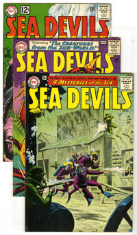 Sea Devils Group (DC, 1963-64). This lot of four Sea Devil books contains #9 (VG), 10 (VF+), 16 (VG+ - Sheldon Moldoff a...