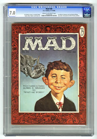 Mad #30 (EC, 1956) CGC FN/VF 7.0 Cream to off-white pages. First Alfred E. Neuman cover by Norman Mingo. Gunsmoke, Disne...