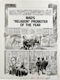 """Original Comic Art:Complete Story, Jack Davis - Mad #213 Complete 5-page Story """"Mad's 'Religion'Promoter of the Year"""" Original Art (EC, 1980). """"Mike Malice"""" i..."""