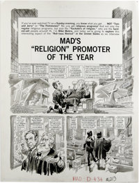 "Jack Davis - Mad #213 Complete 5-page Story ""Mad's 'Religion' Promoter of the Year"" Original Art (EC, 1980). &..."
