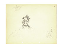 "Walt Disney Studios - ""Mickey's Fire Brigade"" Animation Production Drawing Original Art (Disney, 1935). Mickey..."