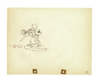 "Walt Disney Studios - ""Mickey's Garden"" Animation Production Drawing Original Art (Disney, 1935). Mickey wages..."