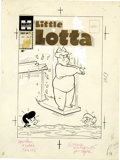 "Original Comic Art:Covers, Warren Kremer - Little Lotta #17 Cover Original Art (Harvey, 1958).Little Lotta hits the ""sweet spot"" on the board, in this..."