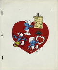Animation Art, The Smurfs Animation Cel Original Art (undated). Move over, Cupid!The Smurfs are on the Valentine's Day scene, in this hand...