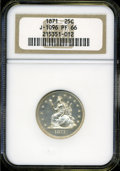 Patterns: , 1871 25C Standard Silver Quarter Dollar, Judd-1096, Pollock-1232,Low R.7, PR66 NGC....