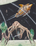 Pulp, Pulp-like, Digests, and Paperback Art, Terry Oakes (Welsh, 20th Century). Chikstha Varieties, Tour ofthe Universe, interior book illustration, 1980. Gouache o...
