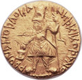 Ancients:Oriental, Ancients: INDIA. Kushan Empire. Kanishka I (ca. AD 127/8-152). AV dinar (21mm, 7.96 gm, 12h)....