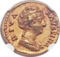 Ancients:Roman Imperial, Ancients: Diva Faustina Sr., deified wife of Antoninus Pius (diedAD 141). AV aureus (20mm, 6.74 gm, 6h)....