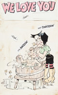 Memorabilia:Comic-Related, Li'l Abner Mammy and Pappy Yokum Hand Colored Print (undated)....