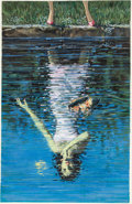 Victor Kalin (attributed) The Swimming Pool Cover Illustration Original Art (Dell, 1962)