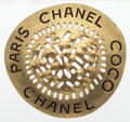 "Luxury Accessories:Accessories, Chanel Gold Coco Chanel Paris Brooch. Good to Very GoodCondition. 2.5"" Width x 2.5"" Length. ..."