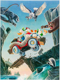 Memorabilia:Disney, Carl Barks Leaving Their Cares Behind Signed Limited Edition Lithograph Print #215/350 (Another Rainbow, 1995).... (Total: 2 Items)