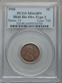 1936 1C Doubled Die Obverse, Type Two, MS64 Brown PCGS. PCGS Population: (1/0). NGC Census: (1/0). ...(PCGS# 92648)