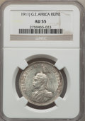 German East Africa, German East Africa: German Colony. Wilhelm II Rupie 1911-J AU55 NGC,...