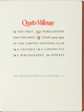 Books:Books about Books, [Books about Books]. LIMITED. Quarto-Millenary: The First 250Publications and the First 25 Years 1929-1954 of the Limit...