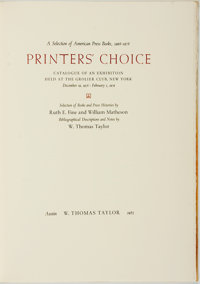 [A Selection of American Press Books, 1968-1978]. Ruth E. Fine and William Matheson. LIMITED. Printers' Choice:
