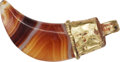 Ancients:Roman Imperial, Ancients: EASTERN ROMAN EMPIRE. Ca. AD 100-300. Gold and banded-agate pendant....