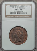 Liberia, Liberia: Republic copper Pattern 2 Cents 1868 MS63 Red and BrownNGC,...