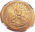 Ancients:Byzantine, Ancients: Constantine IX Monomachus (AD 1042-1055). AV histamenonnomisma (28mm, 4.37 gm, 6h)....