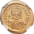 Ancients:Byzantine, Ancients: Justinian I the Great (AD 527-565). AV solidus (21mm,4.51 gm, 6h)....