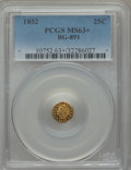 California Fractional Gold: , 1852 25C Indian Round 25 Cents, BG-891, Low R.5, MS63+ PCGS. PCGSPopulation (8/23). NGC Census: (3/5). ...