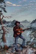 Pulp, Pulp-like, Digests, and Paperback Art, Alan Clark (American, b. 1957). John the Balladeer, bookcover, 1989. Acrylic on board. 21 x 14.75 in.. Initialed andda...