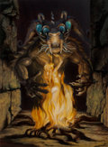 Pulp, Pulp-like, Digests, and Paperback Art, Rowena Morrill (American, b. 1944). Night Demon and Fire,1994. Acrylic on board. 22.5 x 16.5 in. (sight). Signed lower ...