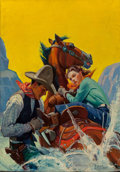 Pulp, Pulp-like, Digests, and Paperback Art, Sidney H. Riesenberg (American, 1885-1971). Cuttin' Her Loose,Western Story Magazine cover, May 9, 1936. Oil on canvas...