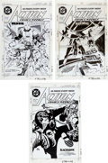 Memorabilia:Comic-Related, Alex Toth, Michael Kaluta, Barry Crain, and Rick Magyar Action Comics Cover Production Art Group of 3 (DC, 1988).... (Total: 3 Items)