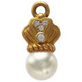 Estate Jewelry:Pendants and Lockets, South Sea Cultured Pearl, Diamond, Gold Pendant. ...