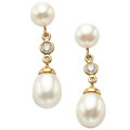 Estate Jewelry:Earrings, Cultured Pearl, Diamond, Gold Earrings, Tiffany & Co.. ...