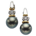 Estate Jewelry:Earrings, Black Cultured Pearl, Diamond, Gold Earrings. ...
