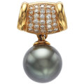 Estate Jewelry:Pendants and Lockets, Black South Sea Cultured Pearl, Diamond, Gold Enhancer. ...