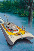 Paintings, David Lockhart (American, b. 1928). Catamaran Cruiser, Mechanix Illustrated magazine cover, March 1953. Oil on board. 19... (Total: 2 Items)
