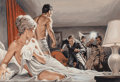 Pulp, Pulp-like, Digests, and Paperback Art, Earl Norem (American, b. 1924). Blondes are for Loving, StagMagazine interior story illustration. Gouache on board. 17....
