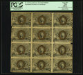 Fractional Currency:Second Issue, Fr. 1232 5¢ Second Issue Blocks of Sixteen and Twelve PCGS Apparent Very Fine 25.. ... (Total: 2 sheets)