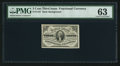Fr. 1227 3¢ Third Issue PMG Choice Uncirculated 63