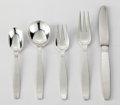 Silver Flatware, American:Other , Allan Adler (American, 1916-2002). Swedish Modern (flatwareservice for six), circa 1969. Silver and stainless steel. 8-...