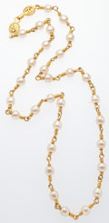 """Luxury Accessories:Accessories, Chanel Gold & Glass Pearl Necklace. Very Good Condition. .5"""" Width x 36"""" Length. ..."""