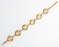 "Luxury Accessories:Accessories, Chanel Gold Round CC Link Bracelet . Good Condition . 8""Length . ..."