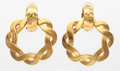 """Luxury Accessories:Accessories, Chanel Gold Twisted Loop Earrings . Very Good Condition .1.5"""" Width x 2"""" Height . ..."""