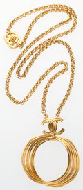 "Luxury Accessories:Accessories, Chanel CC Gold Hoop Pendant Necklace . Excellent Condition. 32""Length. ..."