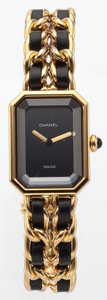 "Luxury Accessories:Accessories, Chanel Premiere Ladies Watch with Classic Gold Chain and LeatherStrap. Good to Very Good Condition. .75"" Width x 7""L..."