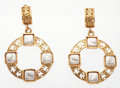 """Luxury Accessories:Accessories, Chanel Gold & Glass Pearl Hoop Earrings . Good Condition. 2"""" Width x 3"""" Height . ..."""
